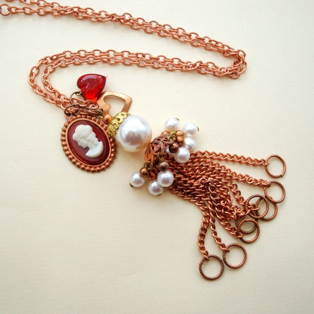 Vintage copper cameo and heart charm tassel necklace VN006
