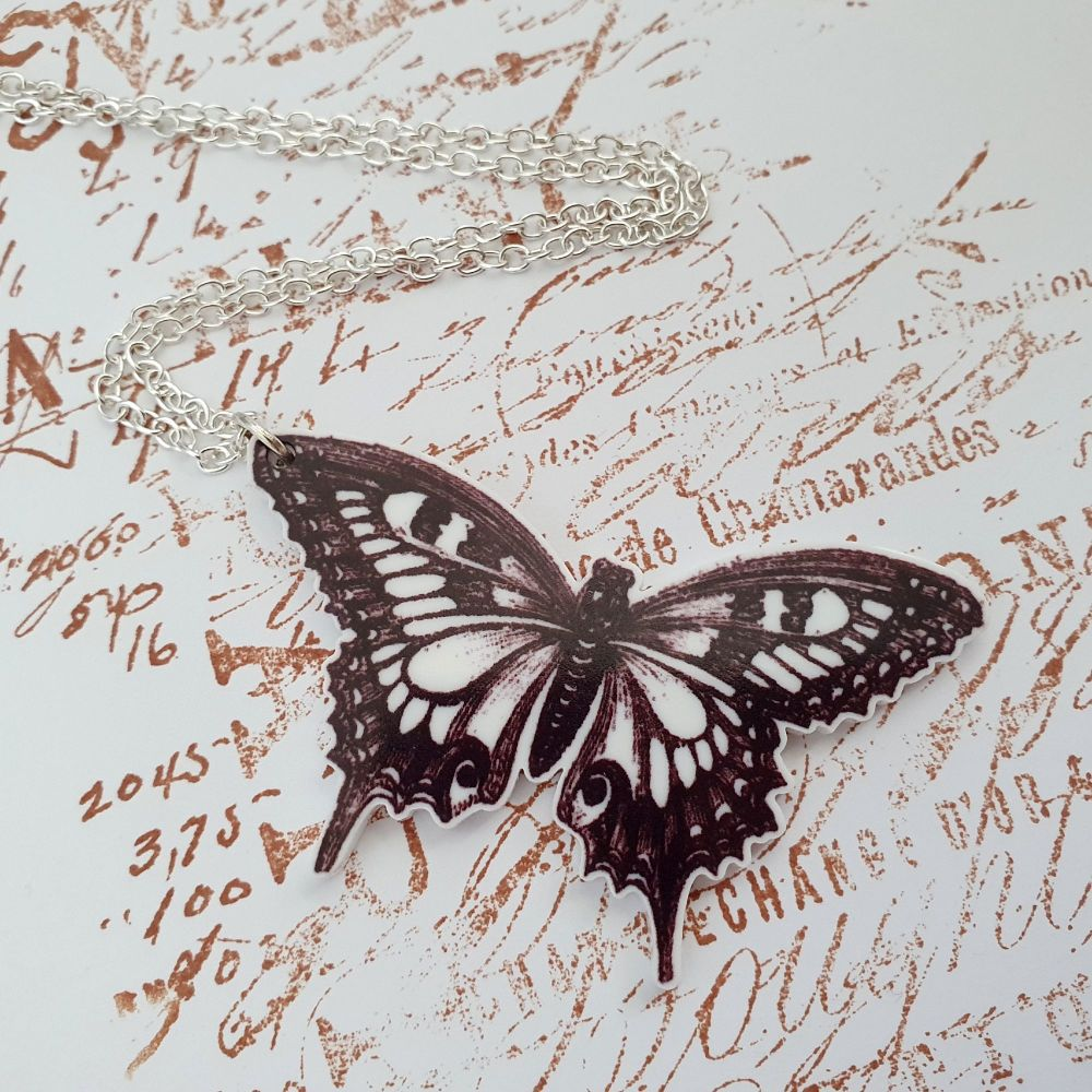 Vintage inspired acrylic butterfly illustration charm necklace VN041
