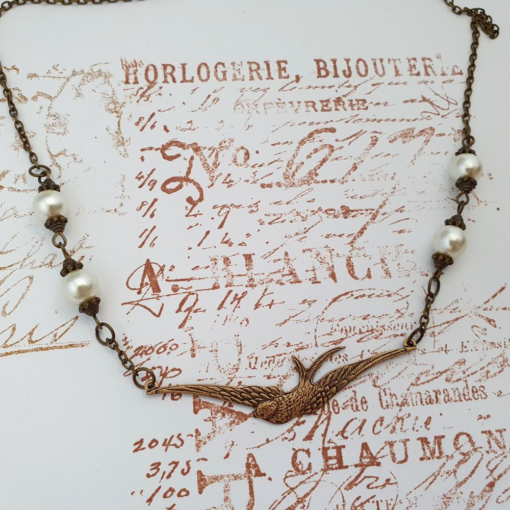 Vintage inspired style brass swallow & pearls necklace VN044