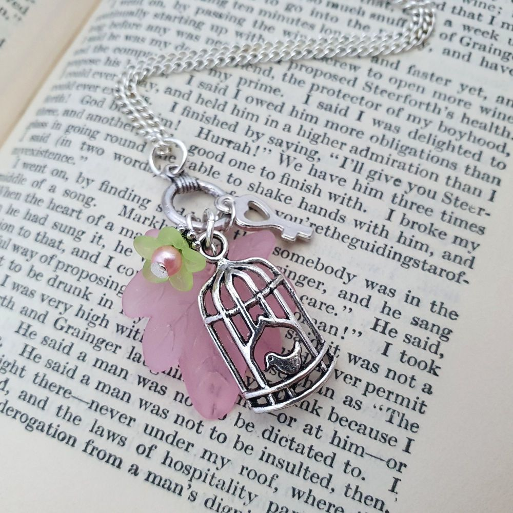 Vintage style birdcage charm and flower necklace VN049
