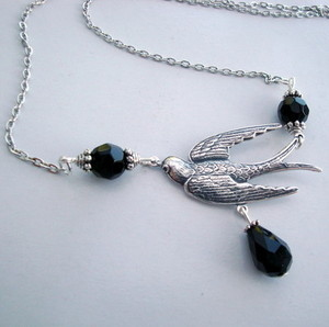 Silver swallow & black teardrop bead vintage style necklace VN039