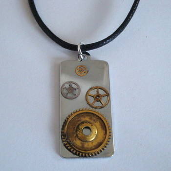 SN029 Steampunk watch parts necklace