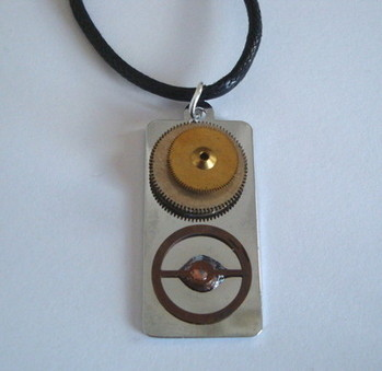 SN030 Steampunk watch parts necklace