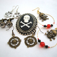 Pirate Earrings, brooches, cufflinks etc