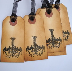 GT001 Vintage Chandelier luggage label gift tags