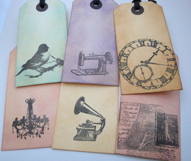GT002 Vintage style gift tags - set of 6 mixed
