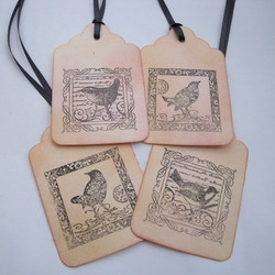 GT004 Vintage birds gift tags