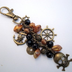 PBG038 Bronze & black pirate bag charm