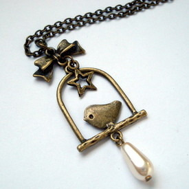 Vintage inspired bronze bird charm necklace VN047