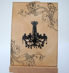 ACEO 11 Vintage chandelier art card