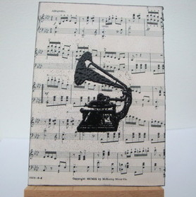 ACEO 9 Vintage Gramophone art card