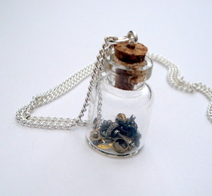 SN038 Steampunk bottle of watch parts necklace