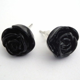 Vintage style black rose flower earrrings VE014
