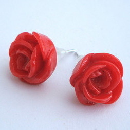 Vintage style red rose flower earrrings VE016