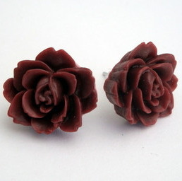 Vintage style wine rose flower earrrings VE022