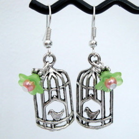 Vintage style silver birdcage earrings VE024