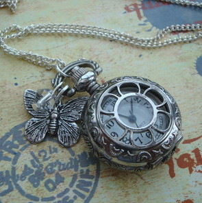 Vintage style pocket watch charm necklace in silver VN050