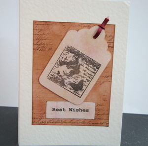 C006 Vintage style Best Wishes card