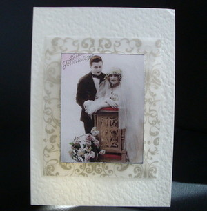 C007 Vintage style Wedding Day card