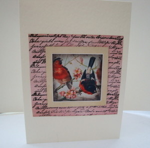 C008 Handmade Vintage inspired birds card