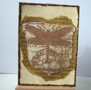 ACEO 16 Vintage Dragonfly art card