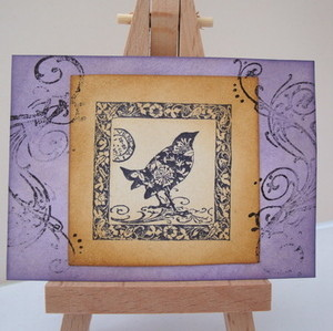 ACEO 18 Purple vintage birds design art card