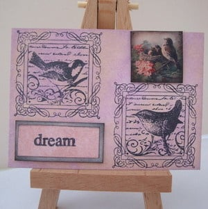 ACEO 20 Pink vintage birds art card