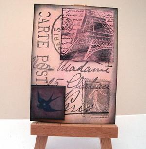 ACEO 21 Vintage style Paris Postcard art card