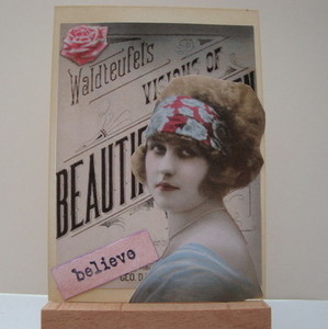 ACEO 22 Vintage style lady collage art card