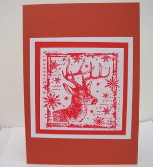C009 Handmade reindeer Christmas card
