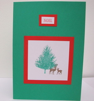 C010 Christmas Tree & Reindeer handmade card