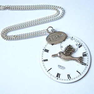 SN051 Steampunk vintage Victorian style pocket watch face necklace