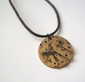 SN055 Steampunk vintage pocket watch movement necklace