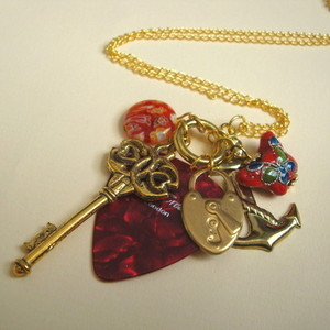 Red and Gold plectrum charm necklace CN059