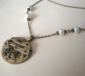 SN062 Steampunk vintage pocket watch movement necklace with pearls