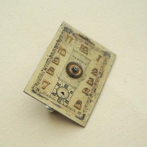 SBR011 Steampunk vintage watch face brooch