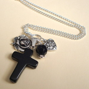 CN067 Black onyx cross, heart and rose long charm necklace