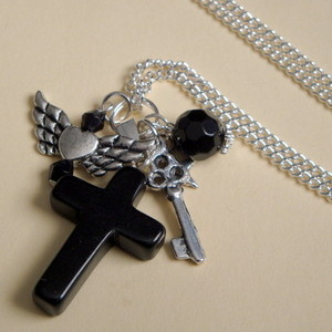 Black onyx cross, key & winged heart long charm necklace CN068