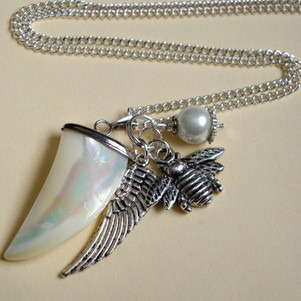 Mother of Pearl sharks tooth & angel wing charm necklace CN069