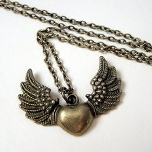 Winged heart charm necklace in antique bronze VN065