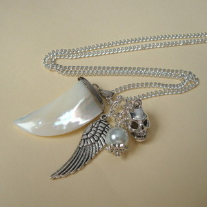 Mother of Pearl sharks tooth, skull & angel wing charm necklace CN071