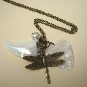 Dragonfly, plectrum and tusk charm necklace in antique bronze CN072