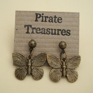Vintage style bronze butterfly earrings VE029