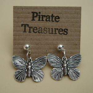 Vintage style antique silver butterfly earrings VE030
