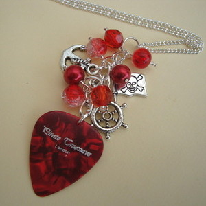PN120 Pirate charm necklace with red plectrum & beads