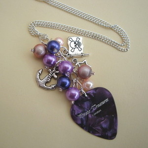 PN122 Pirate charm necklace with purple plectrum & beads