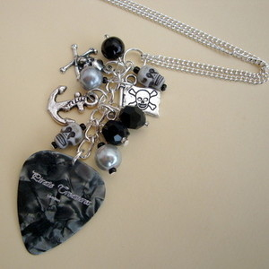 PN124 Pirate charm necklace with black plectrum & beads