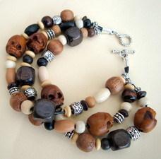 wooden skull bead bracelet