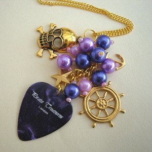 PN126 Pirate charm necklace with purple plectrum & beads