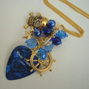 PN127 Pirate charm necklace with blue plectrum & beads